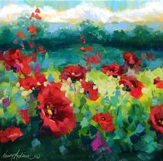 The Best Way to Brighten Reds and Yellows - Rainy Day Poppies - Flower Paintings by Nancy Medina -- Nancy Medina