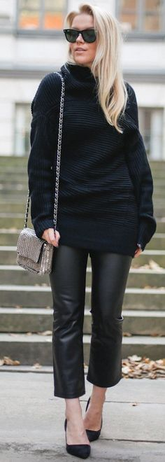 Linda Juhola Shades Of Black Fall Street Style Inspo #Fashionistas