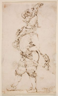 "José de Ribera, ""A Masked Man with small Figures clambering up his Body"", Late 1620´s. Pen and grey-brown ink, 184 x 110 mm. Madrid, Museo Nacional del Prado"