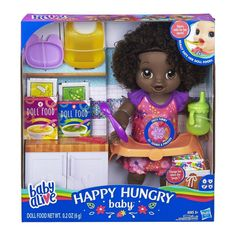 Baby Alive Happy Hungry Baby Black Curly Hair Doll, Makes Sounds and Phrases, Eats and Poops, Drinks and Wets, for Kids Age 3 and Up Baby Alive Doll Clothes, Baby Alive Dolls, Toys For Girls, Kids Toys, Interactive Baby Dolls, Best Baby Doll, Baby Alive Food, Blonde Babies, Baby Doll Nursery