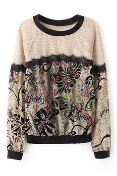 So Pretty! Chartreusse and Black  Floral Print Lace Panel Sweatshirt Fashion #Chartreusse #Lime #Green #Black #Floral #Lace #Sweatshirt #Fashion
