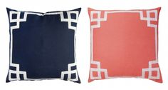Caitlin Wilson: Back in Stock: Navy & Coral Deco White Curtains, Panel Curtains, Master Bedroom Plans, White End Tables, Navy Bedding, Moroccan Room, Custom Cushions, Pillow Talk, Accent Colors