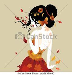 Znalezione obrazy dla zapytania kobieta jesień rysunki