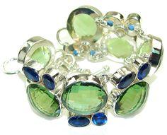 $246.15 Green Island!! Created Green Amethyst Sterling Silver Bracelet at www.SilverRushStyle.com #bracelet #handmade #jewelry #silver #amethyst