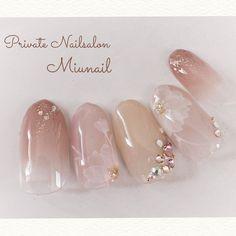 ネイル ネイル in 2020 Pretty Nail Art, Cute Nail Art, Cute Nails, Korean Nails, Bridal Nail Art, Kawaii Nails, Short Nails Art, Luxury Nails, Flower Nail Art