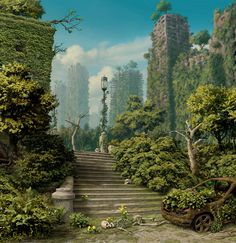 The Block Gardens....the characters don't realize the city beneath the green.