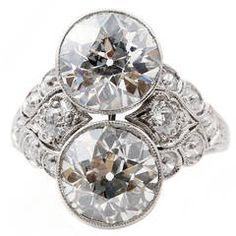 Art Deco Two Stone Diamond Platinum Ring