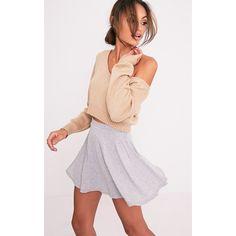 Basic Grey Skater Skirt - 4 (155 MXN) ❤ liked on Polyvore featuring skirts, grey, elastic waist skirt, circle skater skirt, gray skirt, flared skirt and flared skater skirt