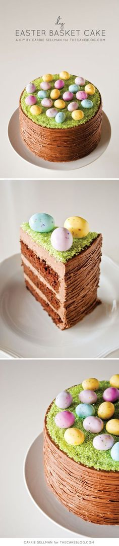 A simple Easter Basket Cake, requiring no special tools or piping! | a DIY by Carrie Sellman of http://TheCakeBlog.com