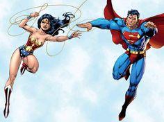 Superman Man of Steel Wonder Woman Jim Lee DC Comics Superheroes Superhero Wonder Woman Y Superman, Wonder Woman Comic, Wonder Women, Jim Lee, Amazon Queen, Superman And Lois Lane, Superman Wallpaper, Comic Art Community, Comic Con