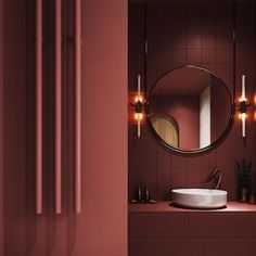 No contemporary bathroom design is complete without a stylish modern vanity unit. Whether you're looking for single or double vanities, we have 40 of the best. Bathroom Red, Bathroom Toilets, Bathroom Colors, Bathroom Curtains, Bathroom Vanities, Bathroom Ideas, Maroon Bathroom, Burgundy Bathroom, Red Bathrooms
