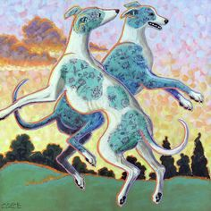 Greyhound Yawning Print from Watercolour A4 A3 Matte or Gloss Mothers Day Gift