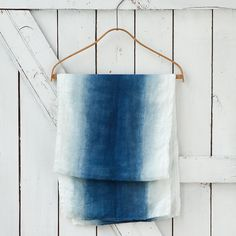 Terrian blue and white ombre table runner Ombre Table Runner, Table Runners, Shibori, Textile Dyeing, Textile Art, Tablecloth, Hipster Wedding, Blue Wedding, Linen Apron