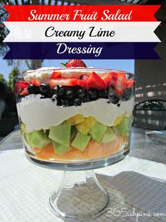 Day 6: Summer Fruits with Creamy Lime Dressing 365ishpins.com #fruitsalad #summer #bbq