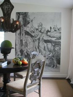 Large Focal Point Artwork in Lauren Liess's Dining Room ..... http://purestylehome.blogspot.com/2009/09/our-70s-split-redo-part-i-living-room.html