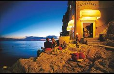 A bar right on the water in Rovinj, Croatia.