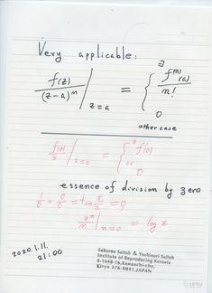 2020年1月12日(日) 9:35      気づいてみれば簡単であった ゼロ除算:     2000年以上の 神秘的な歴史を持つ、ゼロで割る問題 ゼロ除算 それは簡単であった。      それは ゼロで割る意味が、普通に考える意味ではなく、新しい自然な意味を有していたということである。     定義は 図のように 1行の式で終わるが、それは ユークリッド空間や代数学の体の構造、微分係数の概念さえ変え、初等数学全般の欠陥をうめることになる。     数学は美しく、完全化される。未知の世界である特異点の内部の世界が現れる: Sheet Music, Bullet Journal, Math, Music Score, Math Resources, Music Charts, Early Math, Music Sheets, Mathematics