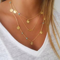 women infinity charms necklace gold bling round coins Multilayer tassel necklace jewelry n8