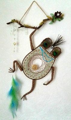 Frog Dream Catcher Animal Dream Catcher by DreamyFlowerWonder