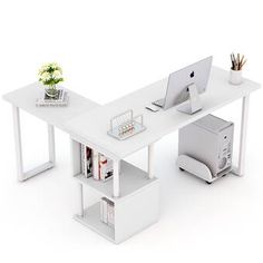 Ebern Designs Lambdin Free-Rotating L-Shape Credenza desk Color: White Computer Desk With Hutch, The Computer, Cubby Shelves, Open Shelving, Kallax Shelf, Home Office Decor, Office Desk, Home Decor, Desktop Shelf