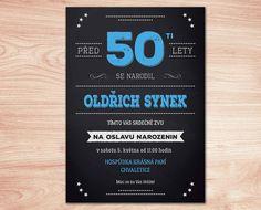 Pozvánka na oslavu 50. narozenin - modrá barva Create, Cover