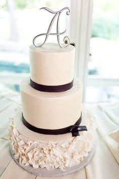 #wedding #cake wedding cake with initial topper, cake by sugarbee sweets