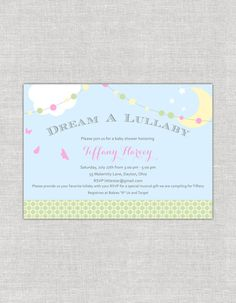Dream a Lullaby Baby Shower Invitations by paperimpressions