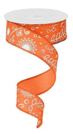 1.5 Orange/White Cross Royal Ribbon  RG146820 by CustomWreathDecor