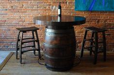 Recycled Wine Barrel Table Whiskey Barrel Table, Wine Barrel Planter, Barrel Bar, Wine Barrels, Bourbon Barrel, Table Baril, Wine Rack Furniture, Barrel Projects, Wine Table