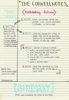 A guide to the Cornell Note-taking System