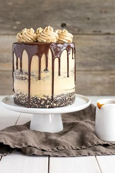 The ultimate combo of chocolate and caramel come together in this delicious Chocolate Dulce de Leche Cake. Read note re coffee/water Chocolate Ganache Tart, Chocolate Cake, Mocha Chocolate, Chocolate Drizzle, Cupcakes, Cupcake Cakes, Mini Cakes, Just Desserts, Delicious Desserts