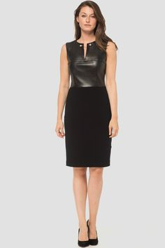e27d6f0e3754 Joseph Ribkoff s black sleeveless sheath dress with leather bodice and a v  slit accent around the neckline