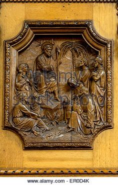 One of the panels on the pulpit.