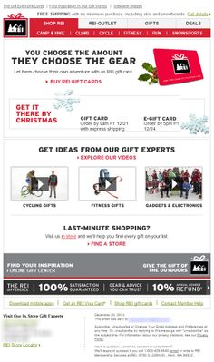 Sent: 12/20/13 SL:'Give Just What They Want - The REI Gift Card' Holiday email from REI drive subscribers to purchase Gift Cards, also includes when you must order to get it by Christmas.