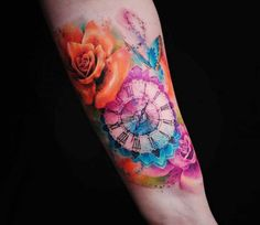 Rose and Clock tattoo by Versus Ink