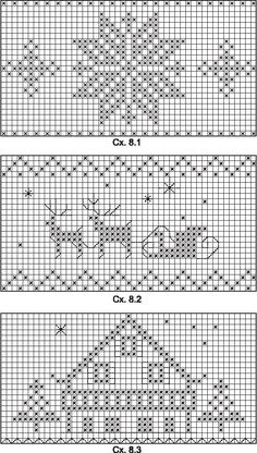 Holiday charts, for knitting, crochet, or cross-stitch! Adapt to your craft. Xmas Cross Stitch, Cross Stitch Charts, Cross Stitch Designs, Cross Stitching, Cross Stitch Embroidery, Cross Stitch Patterns, Christmas Embroidery, Christmas Knitting, Christmas Cross
