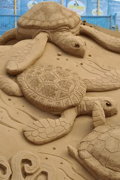 Turtles sand sculpture - photo by davegouldie (pool-karver_kommunity), via Flickr