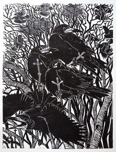 """Crows Ravens Rooks: """" at Kergord,"""" by Howard Towll. Quoth The Raven, Dark Wings, Crow Art, Jackdaw, Tinta China, Crows Ravens, Black White Art, Rook, Cool Paintings"""