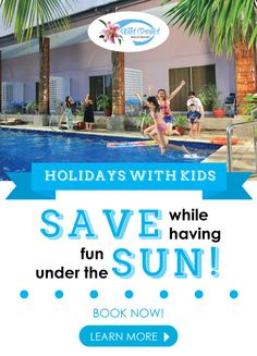 Wild Orchid Beach Resort, Subic Bay Holidays With Kids  SAVE while having fun under the SUN! Featuring our Subic Club Packages* *minimum of (2) two nights & Valid for Mondays - Thursdays nights only.  Children under 12 EAT FOR FREE including breakfast & either lunch or dinner* *Valid for Kids Meals Only  (Whilst the Adults also can Eat Free)**  (**2 Breakfast & either combination of 2 Lunches or Dinners or 1 Lunch or 1 Dinner each day)