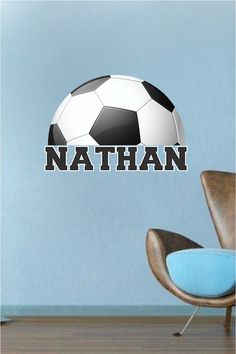Personalized Soccer Bedroom Wall Art - Large Soccer Wallpaper - Boys Bedroom Soccer Sticker - Personalized Soccer Monogram - Primedecals