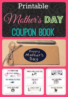 "Some mom's just want a little more ""me"" time. These free printable coupons can be built into a Mother's Day Coupon book as a thrifty alternative to tangible Mother's Day gifts. Step by step picture instructions for creating a handmade coupon booklet."