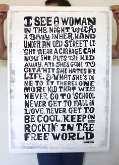 "Neil Young - Keep On Rockin in the Free World, ""never get to fall in love, never get to be cool"""