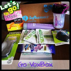 All these amazing products brought to you by @Influenster #GoVoxBox  @Playtex_Sport  #PlayOn @The Vitamin Shoppe  #NextStep @Blue Diamond Almonds  #GetYourGoodGoing @Profoot_Inc  #GoProFoot @Aqua Spa Bath and Body Products  #RelaxwithAquaSpa @Müller Yogurt  #MullerQuaker