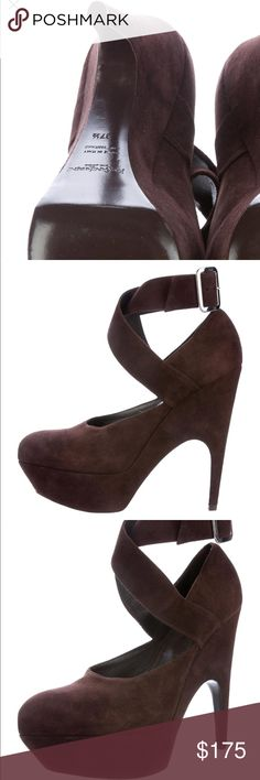 """Yves Saint Laurent suede pointed platform pumps Brown suede YSL platform pumps with pointed toes, tonal stitching, covered heels and buckle closure at ankle straps.   Heels 6"""" Platform 1.5"""" Condition very Good. Light wear to soles. I have worn this once inside on carpet. Yves Saint Laurent Shoes Platforms"""