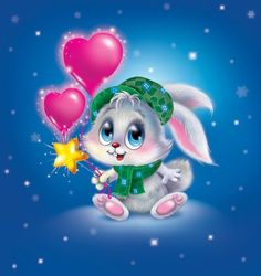 Happy New Year Gif, Bunny Images, Art Mignon, Glitter Graphics, Cute Animal Drawings, Christmas Animals, Diy Painting, Cute Cartoon, Cute Wallpapers