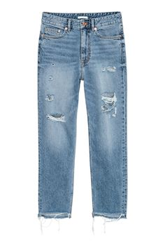 Light denim blue. 5-pocket, ankle-length jeans in washed denim with heavily distressed details. Loose fit with a high waist. Zip fly with button, dropped