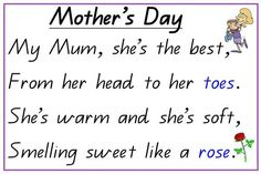Printable Mom's Day poem - nice for lower / paste sentence and phrase reconstruc. Printable Mom's Day poem - nice for lower / paste sentence and phrase reconstruc. Printable Mom's Day poem - nice for lower / paste sentence and phr. Mum Poems, Mother Poems, Kids Poems, Quotes For Kids, Famous Mothers Day Quotes, Mothers Day Verses, Happy Mother Day Quotes, Rhyming Poems, Manualidades