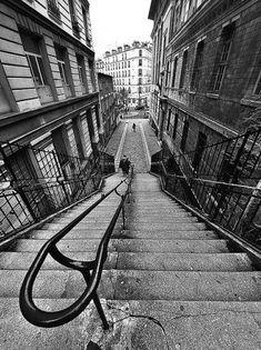 Les escaliers de la rue Levert  (Paris 20ème).