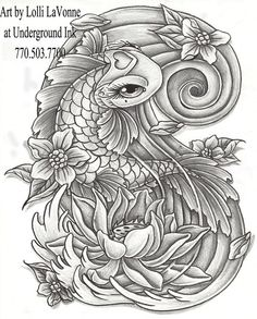 uploading at work since my comp is down at home. line work for a koi piece drawn custom by yours truly. made to be a decent size, whole piece of paper i. Girly koi cb and lotus grey Koi Dragon Tattoo, Koi Fish Tattoo, Dragon Tattoo Designs, Trendy Tattoos, Love Tattoos, Beautiful Tattoos, Tattoos For Women, Tattoo Girls, Girl Tattoos