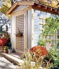 corrugated metal and wood storage shed
